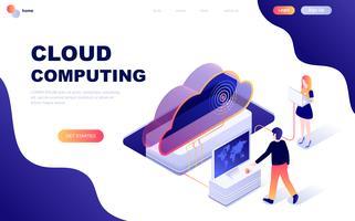 Concept isométrique de design plat moderne de la technologie Cloud vecteur