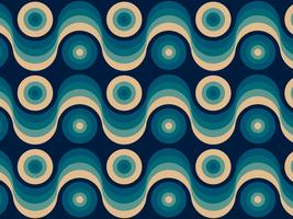 Fond rétro de cercles ondulés vecteur