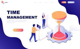 Concept isométrique de design plat moderne de gestion du temps