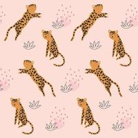 motif enfantin sans couture avec des léopards de dessin animé vecteur