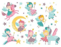 vecteur enfantin avec fée mignonne, licorne, étoiles et nuages