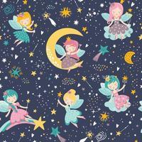 motif enfantin sans couture de vecteur avec la fée, la lune, les étoiles, la comète