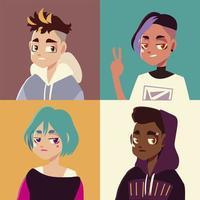 jeunesse culture ensemble gens portrait adolescent coiffure à la mode vecteur
