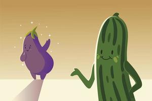 légumes kawaii mignon style de dessin animé aubergine et concombre vecteur