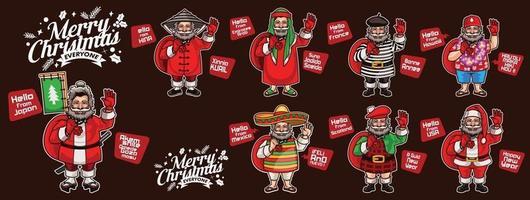 8 pères Noël de différentes nations vecteur