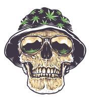 Rasta Skull in Hat et lunettes de soleil