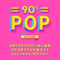 Alphabet de vecteur pop des années 90