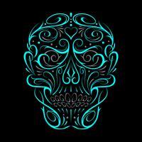 Motif turquoise abstrait en forme de tête de mort vecteur