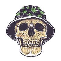 Crâne rasta dans chapeau vecteur