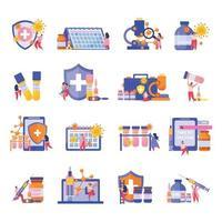jeu d'icônes plat de vaccination vecteur