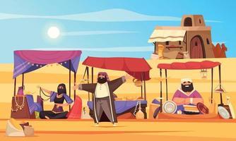 fond de dessin animé de marché arabe vecteur