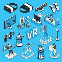 jeu d'icônes de réalité virtuelle vecteur