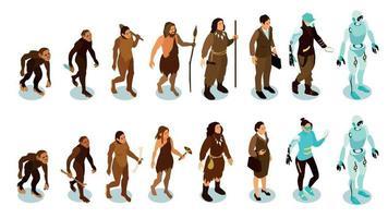 icônes isométriques de l'évolution humaine vecteur
