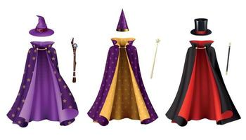 ensemble de robes de magicien réalistes vecteur