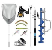 collection de matériel de pêche réaliste vecteur