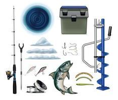 ensemble d'équipement de pêche d'hiver vecteur