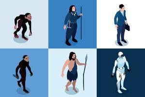 icônes carrées isométriques de l'évolution humaine vecteur