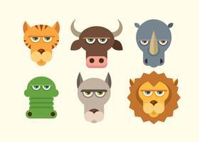 Ensemble de visages d'animaux vecteur