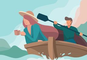 Couple aventure avec illustration vectorielle de bateau vecteur
