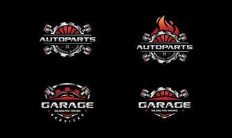 logo du service de réparation automobile. engrenage et pistons vecteur