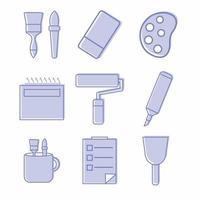 vecteur d'icône de jeu d'outils de peinture icône partie 2 - style jumeaux bleu