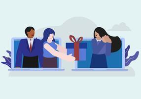 Illustration vectorielle de cadeau virtuel en ligne