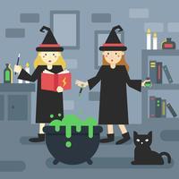 2 étudiants magiciens à l'école vecteur