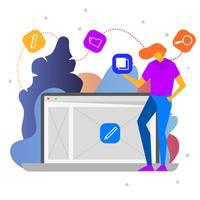 Illustration vectorielle de développement logiciel plat moderne design logiciel