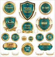 Insignes et étiquettes de luxe premium doré vecteur