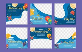 paquet de médias sociaux de la journée mondiale des enfants vecteur