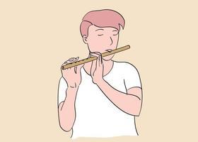 un homme jouant de la flûte les yeux fermés vecteur