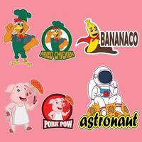 mascotte personnage de dessin animé logo poulet, super banane, cochon, astronaute vecteur