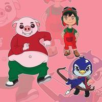 cochon de personnage de dessin animé mignon, garçon en tenue de pilote et archer pingouin vecteur