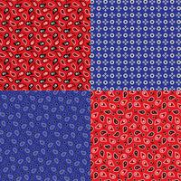 modèles de bandana paisley bleu et rouge vecteur