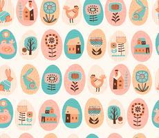 Modèle sans couture de vecteur avec les symboles de Pâques et les fleurs folkloriques.