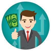 Homme d'affaires gagne de l'argent, rond vecteur
