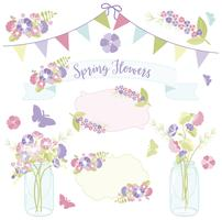 Fleurs de printemps en bocaux vecteur