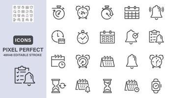minuterie, horloge, icônes de ligne d'alarme. vecteur