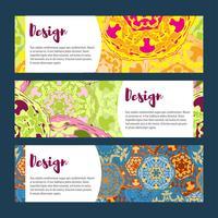 Modèles de bannières définies. Motif floral et ornements de mandala.