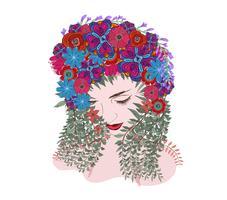 Printemps Fantaisie. âme florale. vecteur