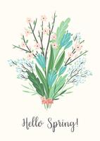Illustration vectorielle avec bouquet de printemps. Concevoir pour affiche, carte, invitation, pancarte, brochure, dépliant. vecteur