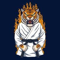 illustration vectorielle de karaté tigre vecteur