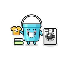 caricature de mascotte de seau en plastique avec machine à laver vecteur