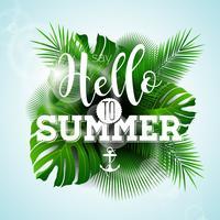 Vecteur dire bonjour à l'illustration typographique de l'été avec des plantes tropicales