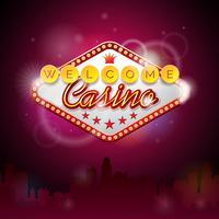 Illustration vectorielle sur un thème de casino avec affichage de l'éclairage et texte de bienvenue vecteur