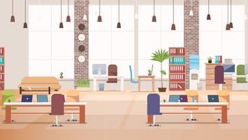 Intérieur de bureau. Espace de travail Coworking. Vecteur.