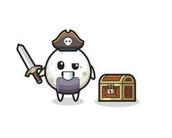 le personnage de pirate onigiri tenant une épée à côté d'un coffre au trésor vecteur