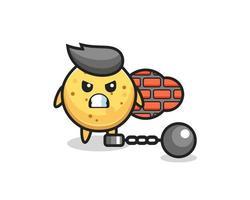 mascotte de personnage de chips de pomme de terre en tant que prisonnier vecteur