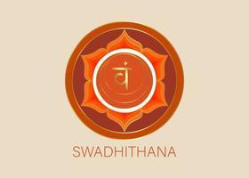 deuxième chakra swadhisthana avec le mantra de graine hindou sanskrit vecteur