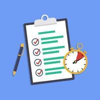 concept de gestion du temps avec le symbole du presse-papiers et du chronomètre. vecteur